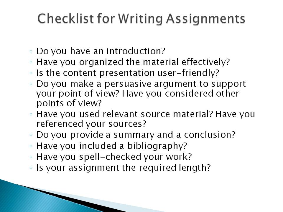 writing assignments and term papers Let professionals assist you with writing assignments we will provide you with tailor-made papers written from the ground up in accordance with your instructions easy steps to perfect assignment writing.