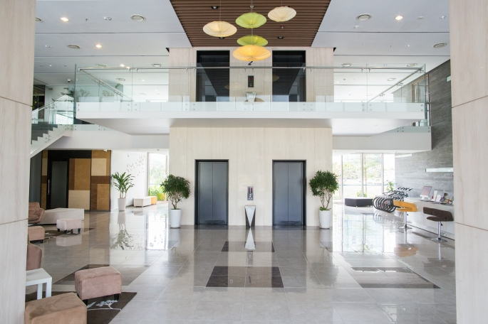 Lobby of condominium building
